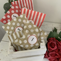 DIY advent calendar 24 bags with numbers and seals