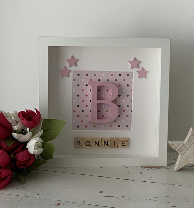 Personalised girls initial scrabble box frame decoration