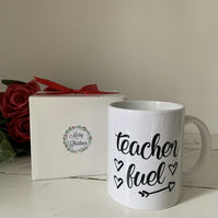 Teacher fuel tea coffee mug with personalised name