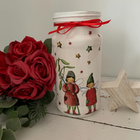 Decoupaged Christmas jar vase decoration