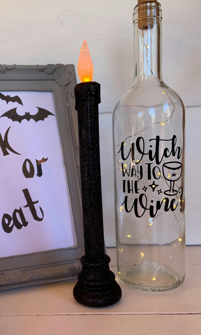 Witch way to the wine light up wine bottle Halloween decoration