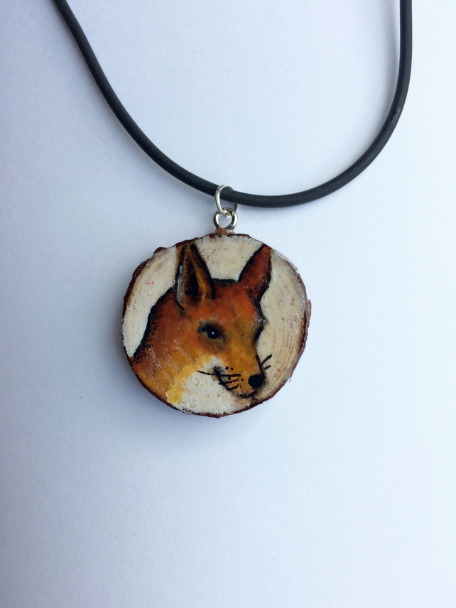 Foxy Hand Painted Wooden Pendant
