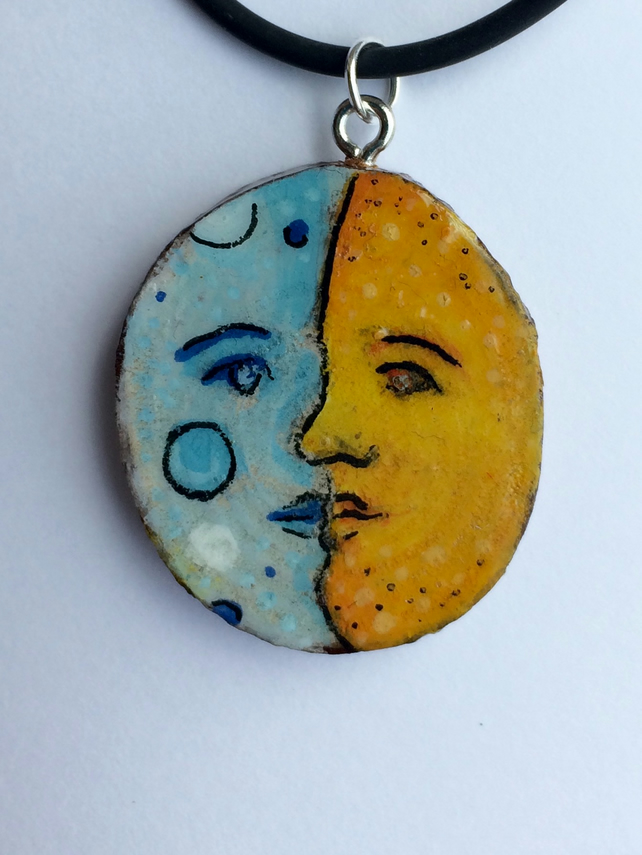 Father Sun and Mother Moon hand painted wooden pendant