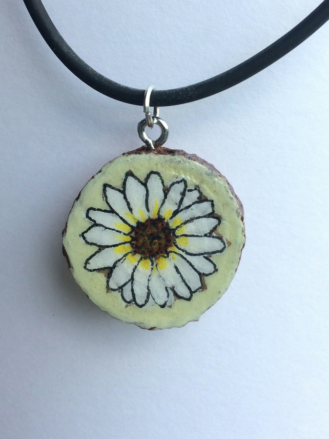 Daisy Hand painted wooden pendant