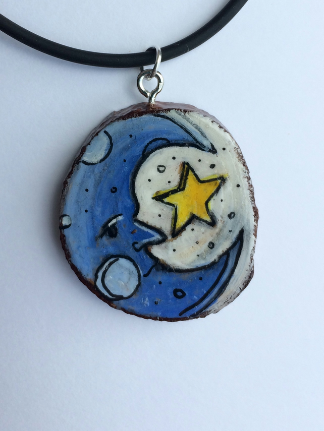 Moon  Hand painted wooden pendant