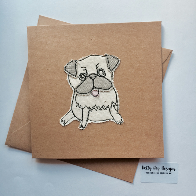 Embroidered Pug Card