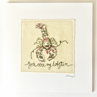 Freehand Embroidered Lobster Art