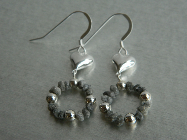 Sterling Silver Natural Grey Diamond Nugget Earrings