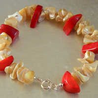 Sterling Silver Red Coral And Mother of Pearl Shell Bracelet