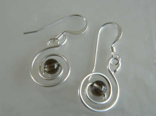 Sterling Silver Spiral Design Earrings With Smoky Quartz Focal Bead