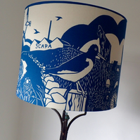 Blue & white lampshade from a paper cut design