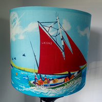 Lampshade with a colourful coastal and nautical theme