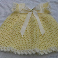 Lemon Crocheted baby dress size 3-6 months