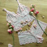 Peach and cream lace bralette and short set