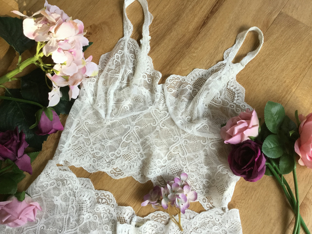 Pretty white  lace bralette and short set