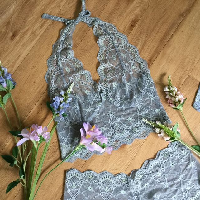 Turquoise blue grey lace halter  bralette and short set