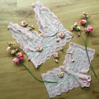 Longline  bralette and short set in Peaches and cream  hand dyed lace