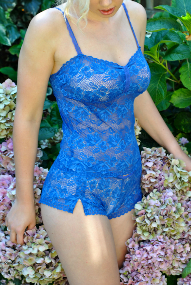 Royal blue stretch lace camisole and shorts set.