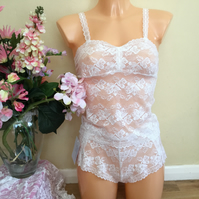 Bandeau style camisole and shorts set in Ivory soft stretch lace by Fidditch