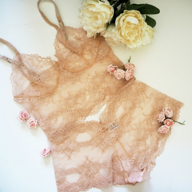 Soft blush semi sheer bralette and French knickers set