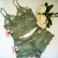 Semi  sheer bralette and French knickers set in soft olive green.