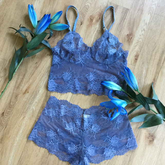 Riverside blue semi sheer bralette and French knickers set