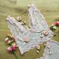 Peaches and cream  Longline vintage style bralette