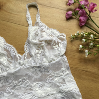 Camisole bralette , in hand dyed lace , sky tones ,from Fidditchdesigns
