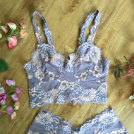 Classic strappy bralette , in hand dyed lace , rose tones ,from Fidditchdesigns