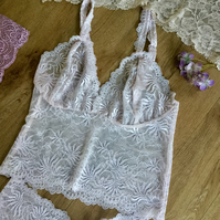 Pastel blush pink  lace bralette and short set