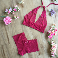 Pomegranate red pink lace halter  bralette and short set