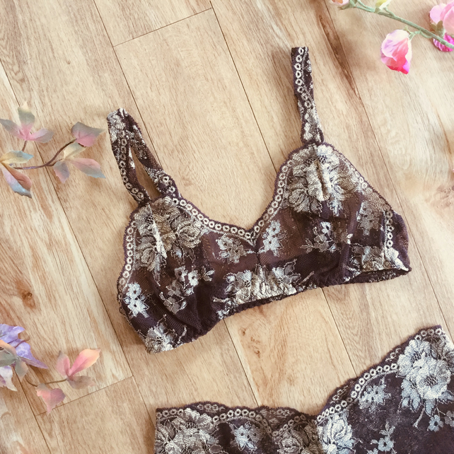 Cocoa and gold pinup style bralette