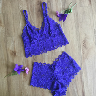 Royal blue lingerie set,  bralette and briefs by Fidditchdesigns