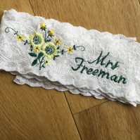 Personalised floral wedding garter