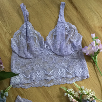 Classic strappy bralette , in hand dyed lace , from Fidditchdesigns