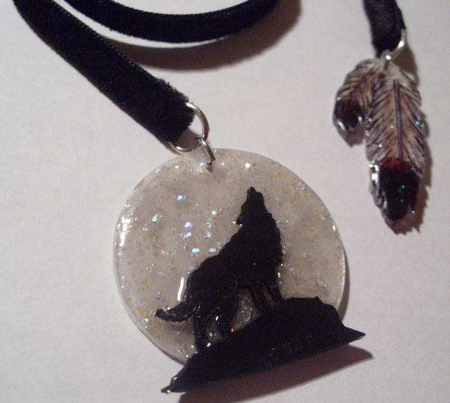 Sparkly Moonlight Wolf Bookmark Ribbon - Black Velvet - Feathers - Mystical