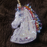 Sparkly Rainbow Unicorn Brooch - I Believe - Pin Badge - Wearable Art