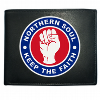 NORTHERN SOUL KEEP THE FAITH- Fist Icon Men's Leather Wallet WBF1215
