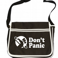 DON'T PANIC- Intergalactic Hitchhiker Advice- Cult Sci fi inspired messanger bag