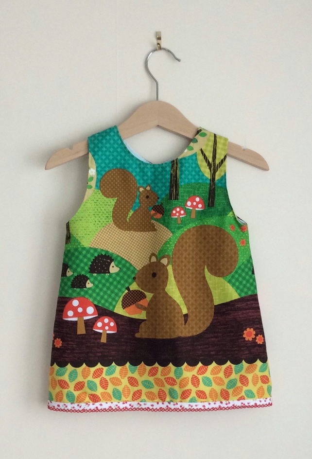 Girls cotton dress, woodland pattern. Age 12-18 months.