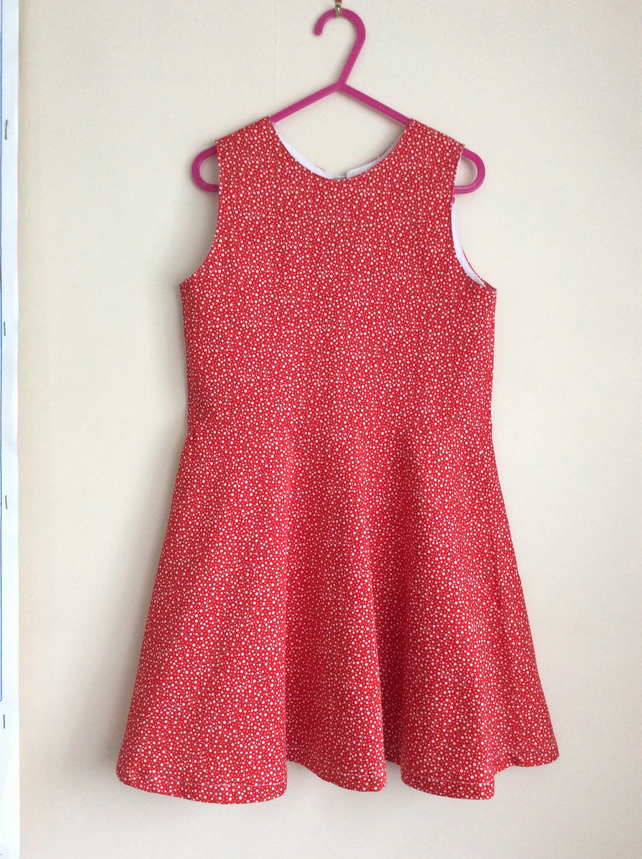 Red and White Swing Dress Age 3-4 years