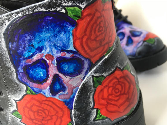 Hand Painted Skulls & Roses Boots