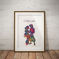 Aladdin Dance Quote Watercolor Print Wall Art