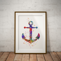 Anchor Watercolor Print Wall Art