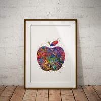 Apple Watercolor Print Wall Art