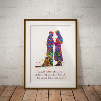 Aragorn Arwen Quote Watercolor Print Wall Art