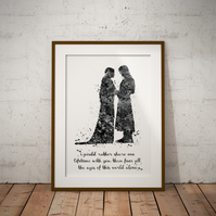 Aragorn Arwen Quote Black and White Watercolor Print Wall Art