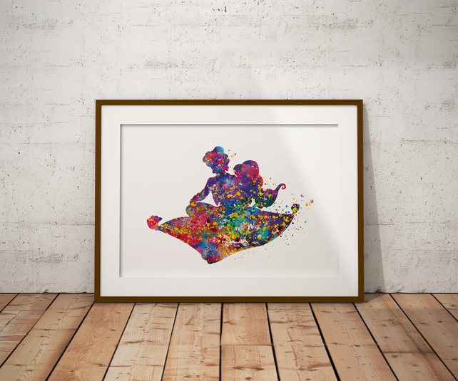 Aladdin Magic Carpet Watercolor Print Wall Art
