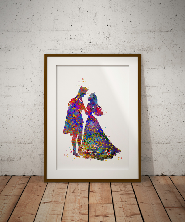 Aurora And Phillip Watercolor Print Wall Art