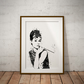 Audrey Black And White Watercolor Print Wall Art
